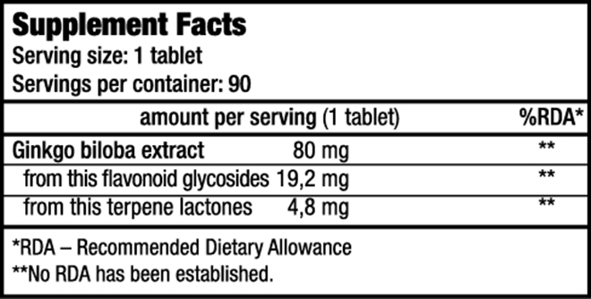 Ginkgo Biloba - Vitamins and minerals - BioTechUSA