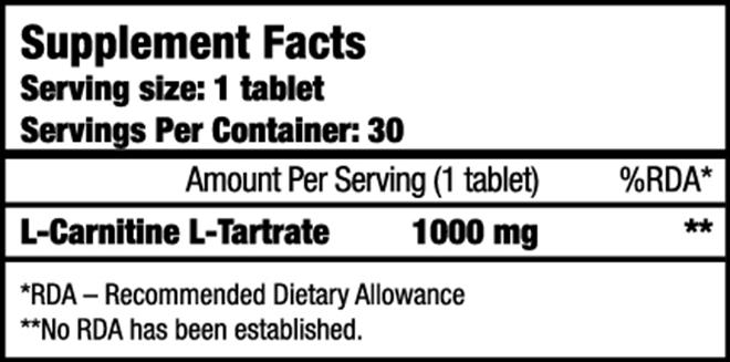 l carnitine l tartrate 1000mg